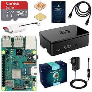 Raspberry pi 3b + Starter Kit con Micro SD de 32GB Clase 10, 5V 3A Tipo C con Interruptor, 2 Radiadores, Cable HDMI, Lector de Tarjetas