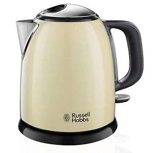 Russell Hobbs Colours Plus - Hervidor de Agua Eléctrico Pequeño (2400 W, Hervidor de 1l, Kettle Inox, Crema)