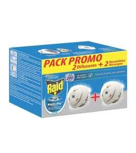 Raid ® Night & Day - Pack 2 Aparato electrico anti moscas, mosquitos y hormigas