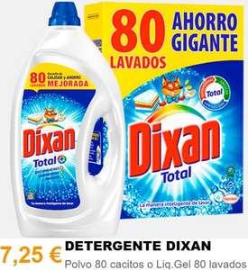 Dixan líquido o en polvo - 80 lavados (0,09 €/lavado)