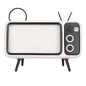 Altavoz Retro estéreo HD en Forma de TV, Bluetooth, Soporte para teléfono móvil, Naranja.
