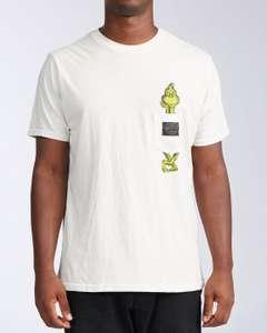 Camiseta billabong Grinch algodón. Tallas S M y XL. Disponible en verde en S y XL