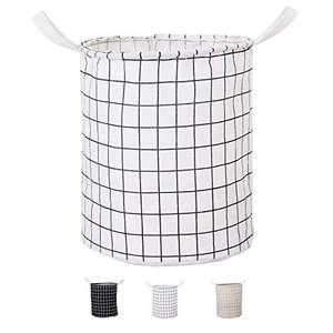Kewayer Cestas para la colada grandes, impermeables, de lona de algodón, redondas, plegables