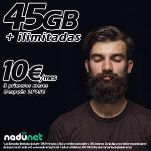 nadunet sube los gigas para el móvil con 45GB y llamadas ilimitadas por 10€