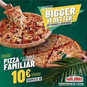 2 pizzas familiares x 10 € cada una