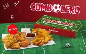 Combolero Telepizza: Patatas gajo +triángulos cheddar +bocaditos pollo +salsas
