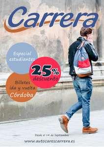 25% descuento para estudiantes en billetes de autobús de ida y vuelta a Córdoba