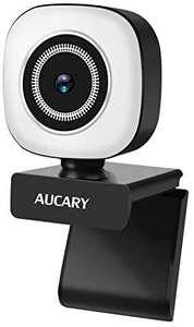 2K Anillo de luz Cámara Web de 1080p con micrófono para PC,