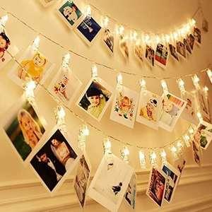Clip Cadena de Luces LED con Pinzas para Colgar Fotos y Memos, Fotoclips Guirnalda de Luces 6 metros