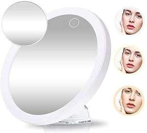GEMITTO Espejo Maquillaje con Luz LED 5X + 10X de Aumento