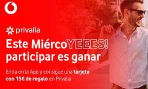 Clientes Vodafone, hoy regalo de tarjeta 15€ para Privalia, SIN compra mínima.