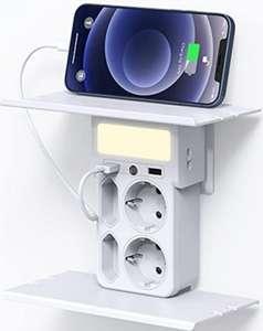 Enchufe 8 en 1 multifunción. 4 Tomas de corriente + 2 USB. Doble estantería + Sensor luz Noche