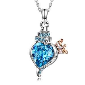 Collar y Colgante Claro y Azul Cristales de Austria,