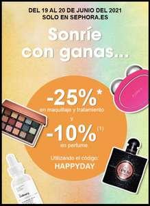 25% en maquillaje y tratamiento y 10% en perfumes en la web Sephora y app