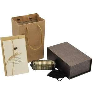 Caja regalo, rompecabezas con cerradura, caja regalo incluido, color dorado