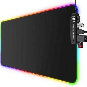 Beexcellent Alfombrilla Gaming, 800x300x5mm 14 Modos de Iluminación RGB Ajustables y 4 Puertos USB
