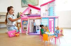 Barbie Casa Malibu, casa de muñecas de dos pisos plegable con muebles y accesorios