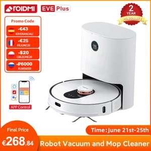 ROIDMI EVE Plus Robot aspirador para el hogar, limpiador de suelo, mopa, recolección de polvo, vapor, compatible con Mi APP de Control. Por