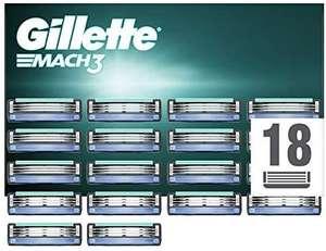Gillette Mach3 Cuchillas de Afeitar, Paquete de 18 Cuchillas de Recambio c/u 1.41€