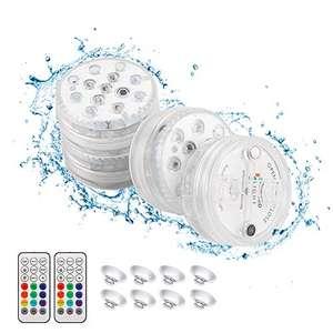 Pack de 4 Luces led sumergibles para piscina, bañera, baño...(pilas no incluidas)