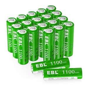 EBL 20PCS AA Pilas Recargables Solar 1100mAh de 1.2V Precargadas sin Efecto de Memoria