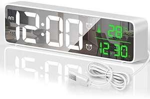 HOTERB Reloj Despertador Digital,Despertadores Digitales LED con 40 Melodias,2 Alarma,Temperatura y Hora