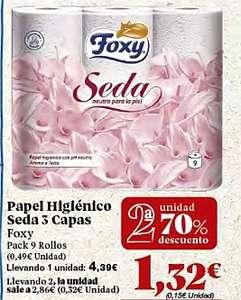 Foxy Seda papel higiénico 3 capas pack 9 rollos 2ªUd. -70% en Gadis