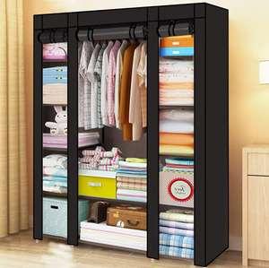 Armario de tela con estantes y Cortina Enrollable [Negro o Gris]