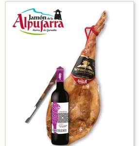 Jamón de la Alpujarra de 7 kg +Cuchillo Jamonero+ 1 botella deVino DOP de Granada.+Envío gratuito solo 69.99€