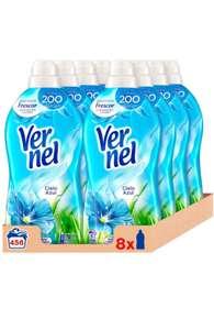 Vernel Suavizante Concentrado para la Ropa Cielo Azul - Pack de 8x57D, Total 456 Lavados (10.4 L)