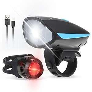 Luz Delantera de la Bici y Luz de la Cola 250LM 120dB Altavoz USB Recargable e Impermeable