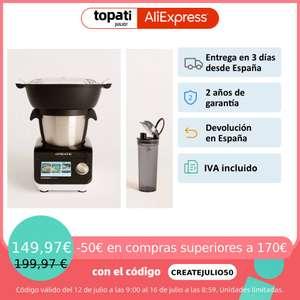 CREATE - PACK - CHEFBOT TOUCH - Robot de Cocina inteligente con Cesta Vaporera + Vaso Portátil para batidos