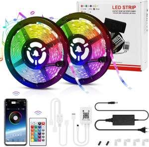 10 M Tiras LED, LemonBest Bluetooth Musical Micrófono Impermeable RGB 5050