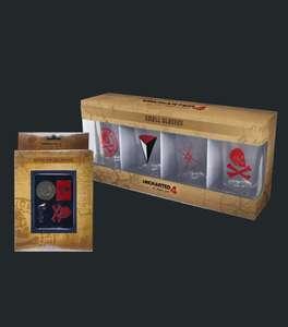 Set de 4 vasos de chupito + 4 pins oficiales de Uncharted 4 por sólo 9,99€