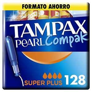 Tampax Pearl Compak Super Plus, Tampón con aplicador, 128 unidades