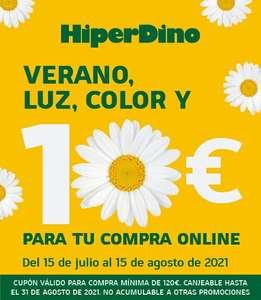 Válido Hasta 31 Agosto. CANARIAS HIPERDINO 10€ de descuento en compra de 120€ para pedidos online