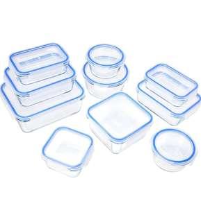 10 Tuppers de cristal Amazon Basics con sus tapas
