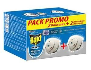 Raid ® Night & Day - Pack 2 Aparato electrico anti moscas, mosquitos común y tigre, y hormigas