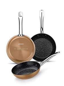 Monix - Set de 3 Sartenes Efecto Cobre, Aluminio Forjado Antiadherente con Partículas de Titanio, Aptas para Todo Tipo de Cocinas