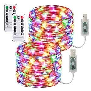 [2 Pack] Guirnaldas Luces Con enchufe USB,10m/100 LED 8 modos s con Control Remoto y Temporizador