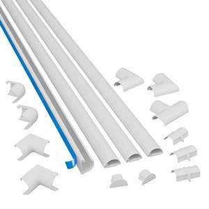 D-Line Mini 3015KIT001 Canaletas adhesivas de PVC para cables, Multipack de 4 piezas (30x15 mm) de 1 metro
