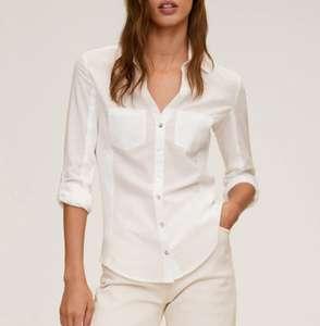 Camisa slim fit algodón Mango mujer tallas XS, S, L y XL. Recogida en tienda gratis.