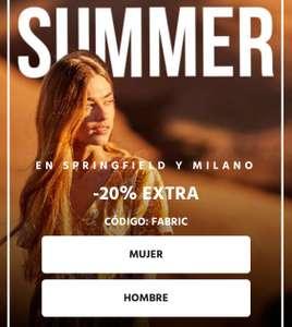Descuento de -20% Extra en marcas Milano y Springfield (sólo hoy).