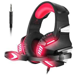 VersionTECH. Auriculares Gaming con Micrófono Aislante,Sonido Envolvente,Volumen Control,Para PS5/PC/Tableta/PSP/PS4/Móvil/Xbox One(Rojo)