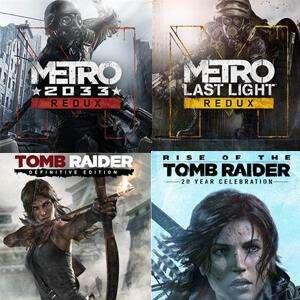 Tomb Raider: Definitive Edition, 20 aniversario, Metro 2033 Redux, Last Light Redux [XBOX, Gold]