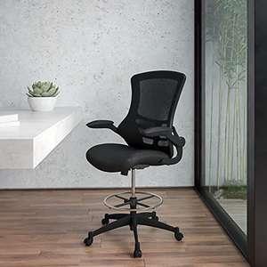 Silla de escritorio ergonómica, de malla, respaldo medio, anilla reposapiés ajustable, reposabrazos abatibles