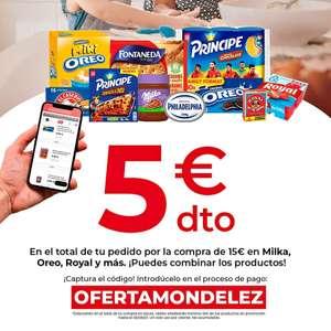 En Dia online 5 euros de descuento en compras superiores a 15 euros en marca Oreo,Milka,Royal y otras