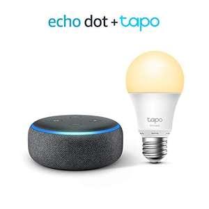 Echo Dot (3.ª generación), Tela de color antracita + TP-Link Tapo Bombilla Inteligente (E27), compatible con Alexa