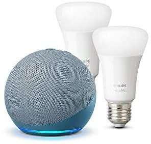Echo Dot (4.ª generación), Azul grisáceo + Philips Hue White Pack de 2 bombillas LED inteligentes, compatible con Bluetooth y Zigbee
