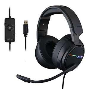 THE G-LAB Korp THALLIUM Cascos Gaming USB 7.1 Digital Surround - Micrófono con cancelación de ruido, LED RGB - Compatible con PC PS4 Mac